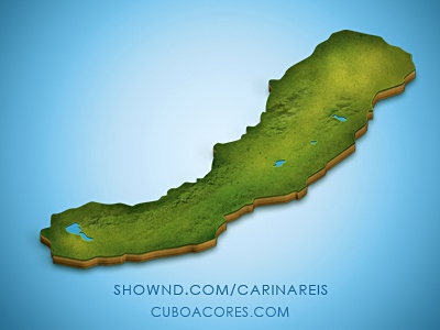 Azores, S. Miguel Island map island 3d texture grass green blue graphic photoshop