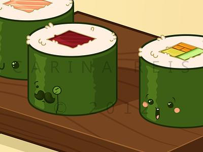 Sushi roll vector illustration illustrator food japanese chinese cute kawaii chopsticks sushi tray shrimp salmon green tuna