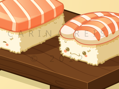Cute Nigiri Couple nigiri vector illustration illustrator food japanese chinese cute kawaii chopsticks sushi tray shrimp salmon