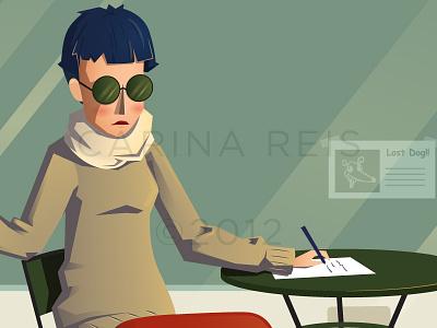 The Girl girl smoke write window vector illustratio illustrator glasses pen papper table dog