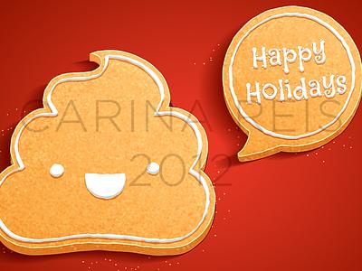 Gingerbread poop poop turd cute food gingerbread cookie red holidays happy vector illustration