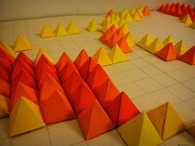 WIP orange pyramid square paper craft design