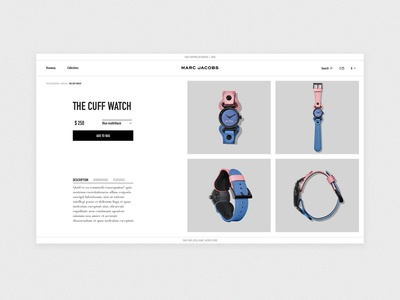 Marc Jacobs product page concept