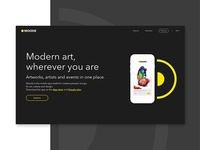 Modern art app landing page