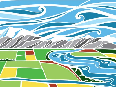 Stained Glass illustration art mountain river maori stained glass