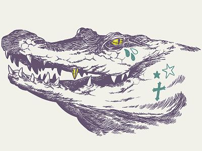 Now & Later Gator alligator animal illustration drawing gold tattoo cross draw art