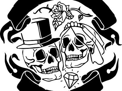 Wedding shirt design skull illustration illustrator wedding tattoo