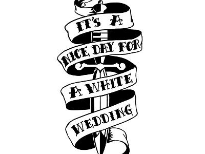 Dagger dagger tattoo type wedding scroll banner ribbon hand drawn