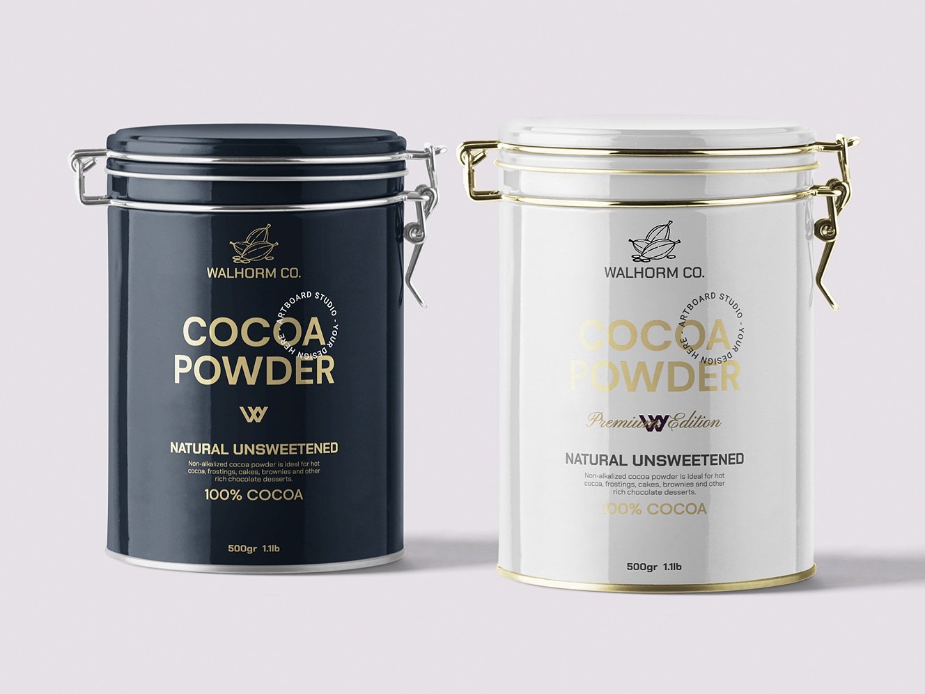 Cocoa Powder Package brand design typography logos mockup branding package label powder cocoa