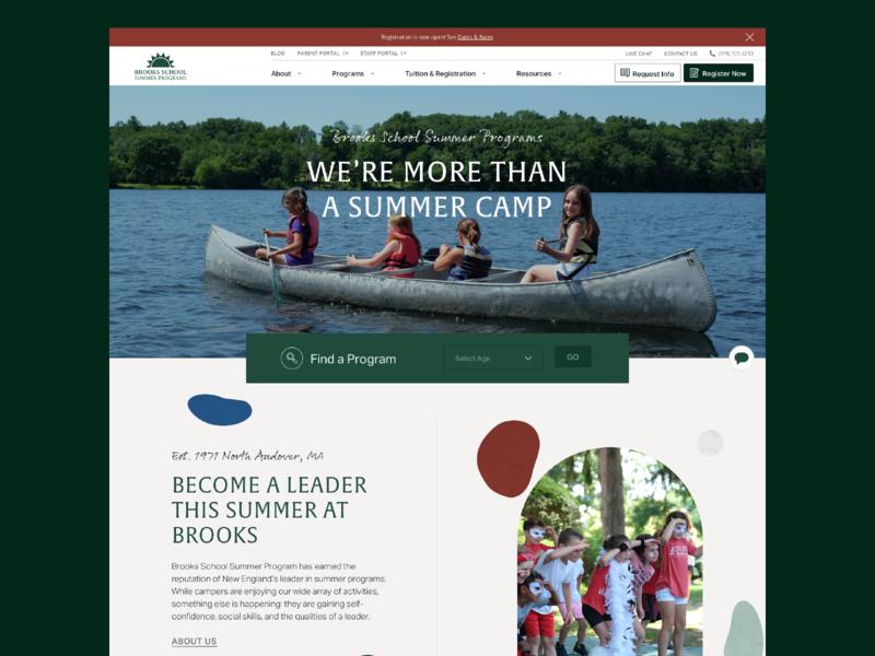 Brooks School Summer Programs—Homepage user interface brooks school outdoors education interface web design website 829 nature summer camp homepage icon ux ui design