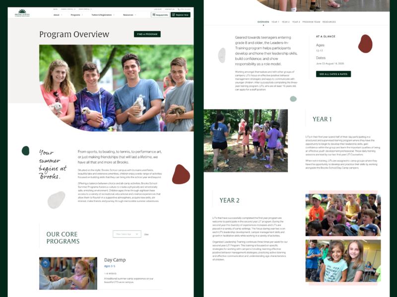 Brooks School Summer Programs—Programs user interface ux ui design web design website programs education 829 outdoors nature summer camp brooks school