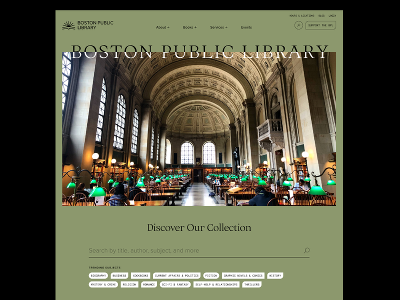 boston public library experiment — 01 serif typography interface website green ux books branding logo boston public library minimal design ui library boston