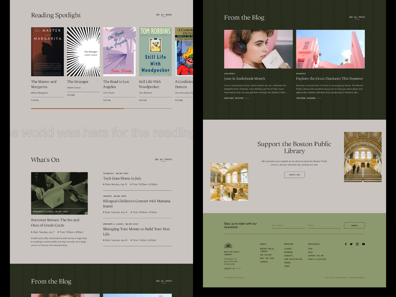boston public library experiment — 02 web typography branding interface design website serif ux ui logo green minimal library boston public library boston reading books