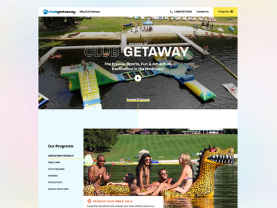 Club Getaway — Homepage, Youth Programs, & Iconography camp adventure typography patterns color palette iconography pastel web design interface ui camp getaway club getaway