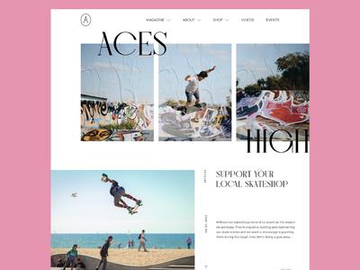 Aces High Homepage — 01 user interface flat typography pink graffiti blog magazine clean minimal branding website ux ui logo skate high aces skateboarding