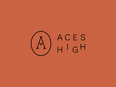 Aces High Logo high brand red icon minimal branding typography sans serif vector design logo magazine skateboard card ace aces
