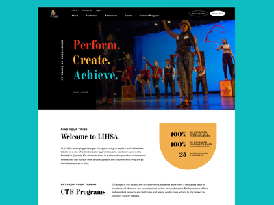 Long Island High School for the Arts—Homepage 01 long island art school web color palette vector typography shapes design ui
