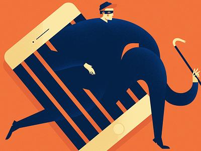 Hacker phone crowbar crime robber jail iphone