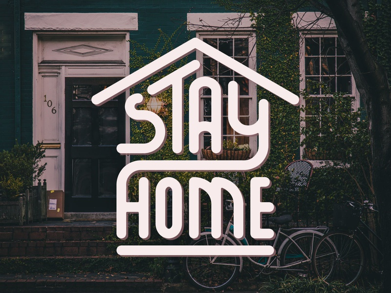 Stay home custom type vintage illustration home badge typography type