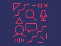 Search + assistant ux geometic collage minimal monoline microsoft illustration