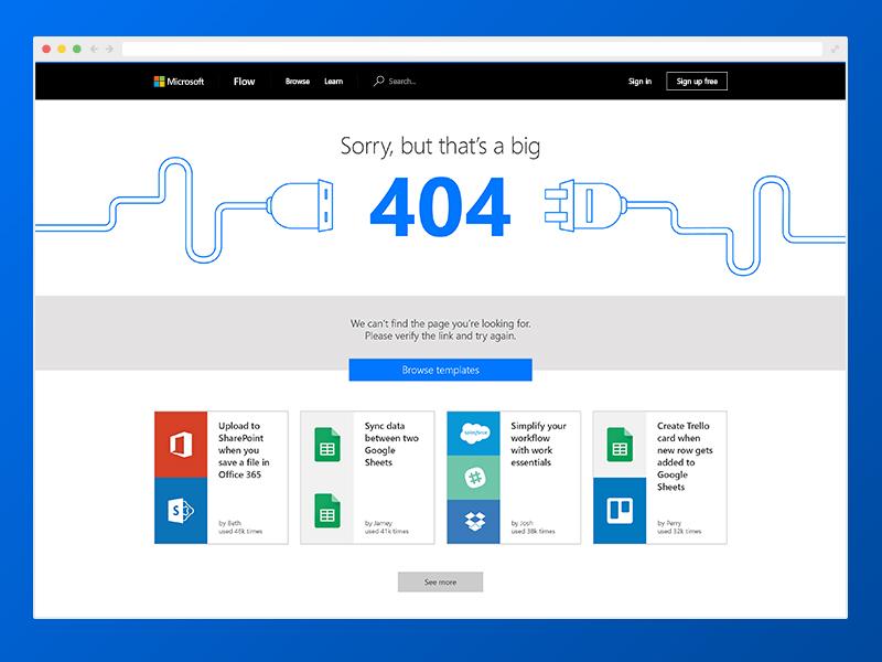 Microsoft Flow 404 web design flow 404 ux microsoft