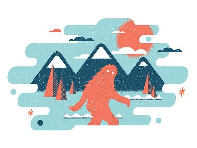 Sasquatch in the wild illustration mountains sasquatch