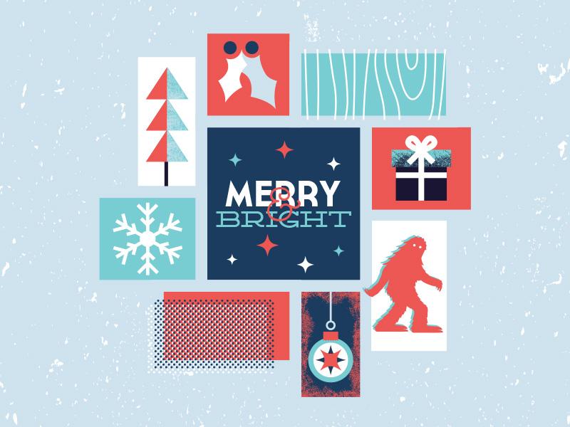 Merry & Bright snowflake merry holiday retro illustration