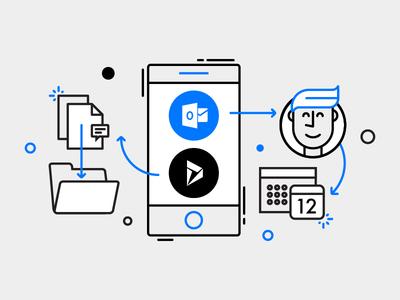 Microsoft Flow - buttons illustration