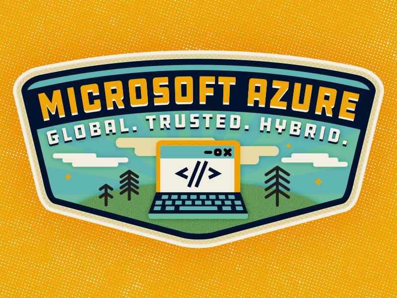 Camp Azure clouds tree emblem laptop illustration badge camp