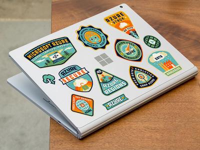 Camp Azure laptop stickers data laptop robot camp buildings cloud illustration badge azure