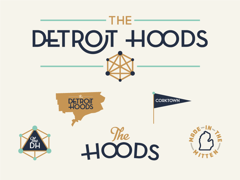 The Detroit Hoods branding flag michigan type retro detroit typrography
