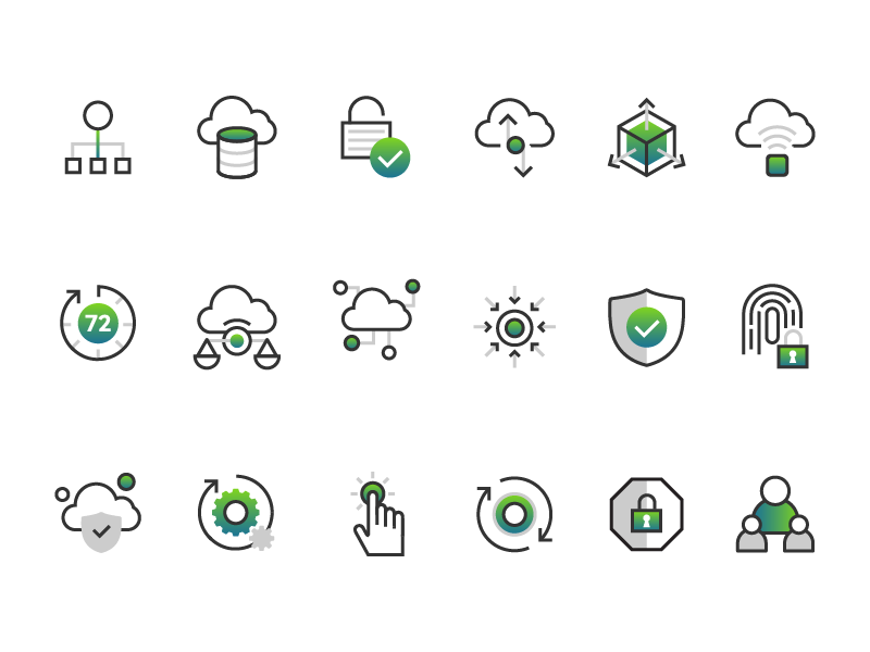 Cloud and security icon set user secure illustration monoline process security icon cloud