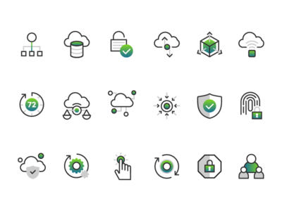 Cloud and security icon set