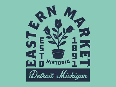 Eastern Market Detroit branding brand flowers vintage badge historic market detroit