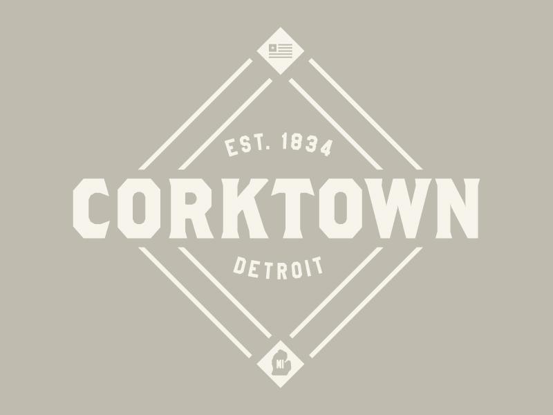 Corktown Detroit emblem baseball vintage corktown detroit brand logo badge