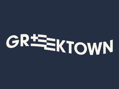 Greektown Detroit greek wordmark type identity detroi greektown badge logo