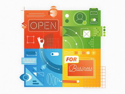 Open for business vector retro human tech technology business work illustration