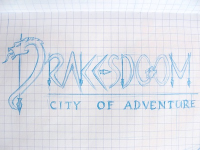 Drakesdoom: Logo Sketch sketch blue pencil sketchbook concept idea logo rpg