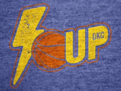 """Thunder Up!"" Tee Mock Up thunder okc t-shirt logo basketball 2014 playoffs"