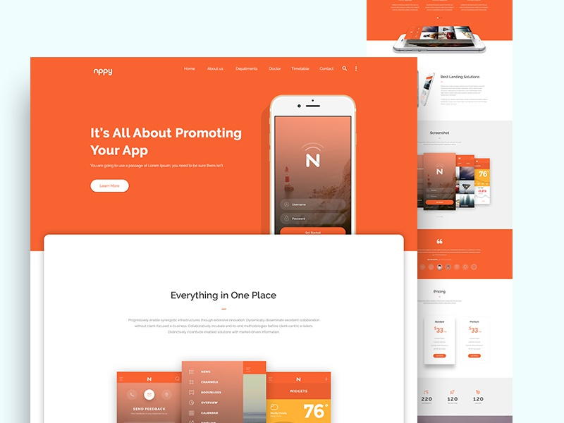 Nppy material design app landing page by ahmed faruk