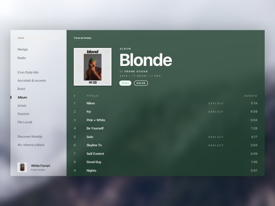 Spotify White spotify ux ui music redesign concept blur