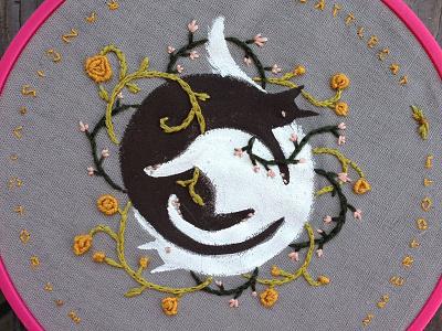 Kitty Kats tiny letters embroidery illustration