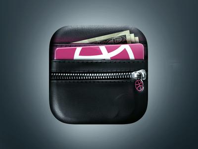 Wallet App Icon app icon wallet illustration iphone leather zipper dribbble money