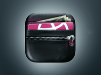 Wallet App Icon app icon wallet illustration iphone leather zipper dribbble money
