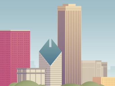 Chicago Buildings skyline illustration buildings city chicago
