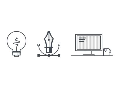 Concept - Design - Development icons web concept design development