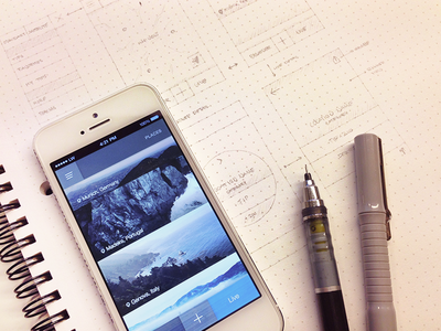 App Sktech sketch iphone app wireframe mockup flat location gps feed blog mountains