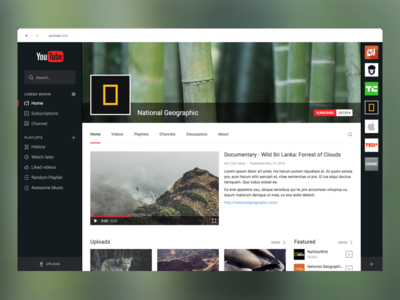 YouTube Redesign - WIP 2 geographic white dark black flat redesign channel player video platform website youtube