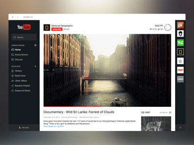 YouTube Redesign - WIP 3 white video platform geographic youtube redesign channel website player black flat dark