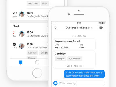 focus healthcare - Appointments ux ui telemedicine date medicine interface health chat calendar doctor appointments app